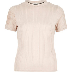 Nude pink ribbed turtle neck top