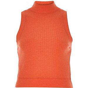Orange turtle neck crop top