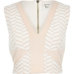 Pink and beige chevron print crop top