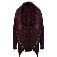 Dark red faux-fur collar zip cardigan