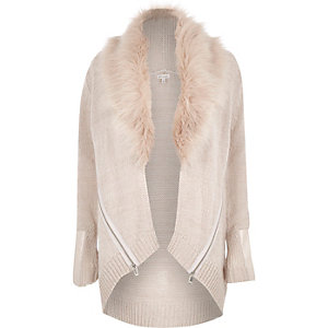 Beige knitted faux-fur trim cardigan