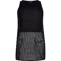 Black mesh split back vest