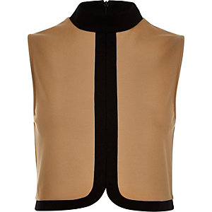 Brown colour block turtle neck top