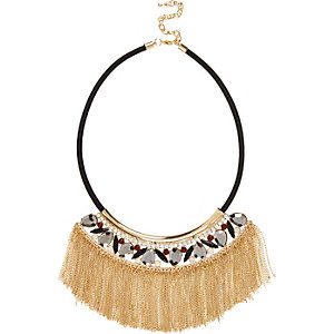 Black fringed embellished statement necklace