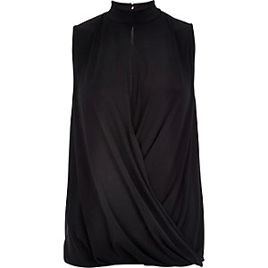 Black drape sleeveless top