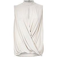 Beige drape high neck jersey top