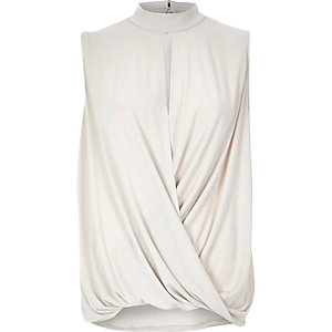 Beige drape high neck jersey top