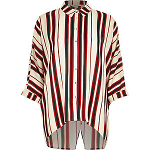 Red stripe wrap back shirt