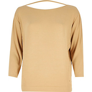 Camel brown V-back top