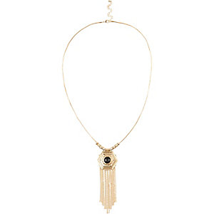 Gold tone pendant drape necklace