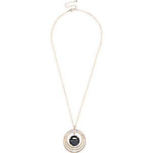 Gold tone stone pendant necklace