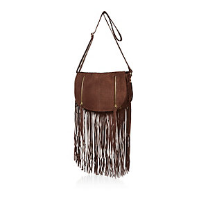Brown leather fringed saddle bag