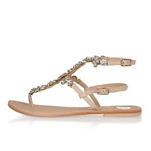 Light pink embellished thong sandals