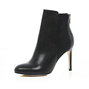 Black leather scuba panel heeled ankle boots