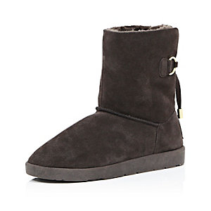 Dark brown suede faux fur lined ankle boots