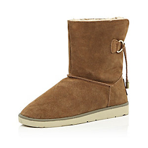 Brown suede faux-fur lined ankle boots
