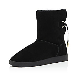 Black suede faux-fur lined ankle boots