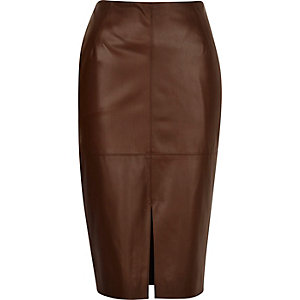 Brown leather-look split front skirt