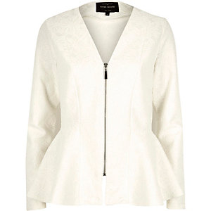 Cream lace jersey structured peplum jacket