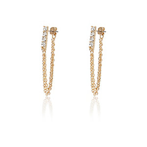Gold tone chain front and back earrings