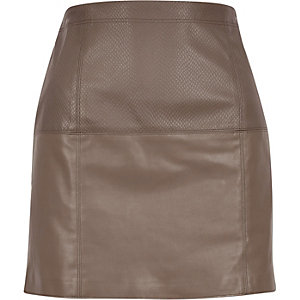 Brown leather-look pelmet skirt