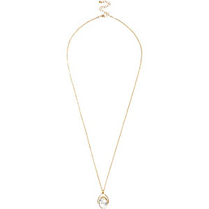 Gold tone twist pendant necklace