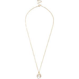 Gold tone twist pendant necklace
