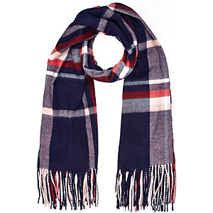 Navy check tasselled oversized scarf