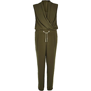 Khaki green smart wrap jumpsuit