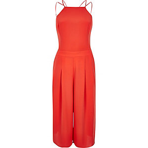 Orange strappy cropped jumpsuit