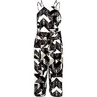 Black print strappy cropped jumpsuit
