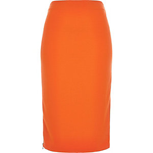 Orange zip side pencil skirt