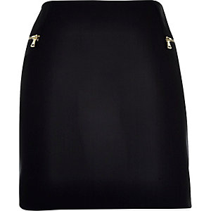 Black curved hem pelmet skirt