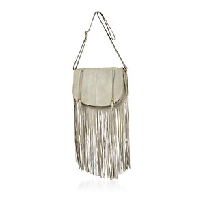 Grey leather fringed saddle handbag