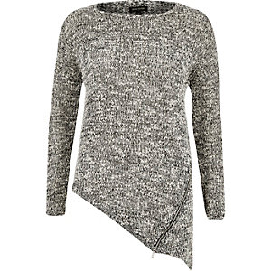 Grey asymmetric zip front jumper
