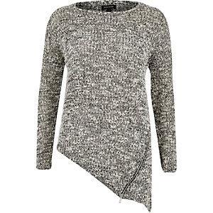 Grey asymmetric zip front jumper