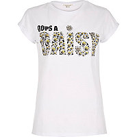 White daisy print fitted t-shirt