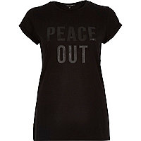 Black fitted peace out slogan fitted t-shirt