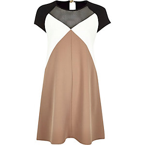 Beige crepe block colour swing dress