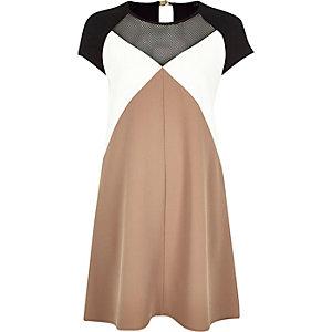 Beige crepe block colour swing dress