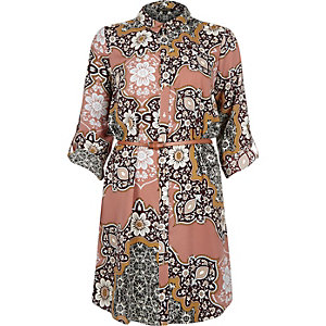 Pink paisley print shirt dress