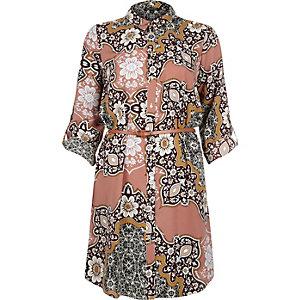 Pink paisley print shirt dress