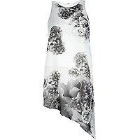 Grey print asymmetric vest