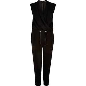 Black smart wrap jumpsuit