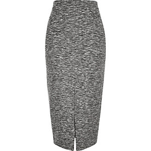 Grey woven split front pencil skirt