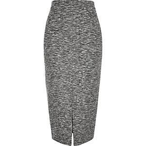 Grey woven split front pencil skirt