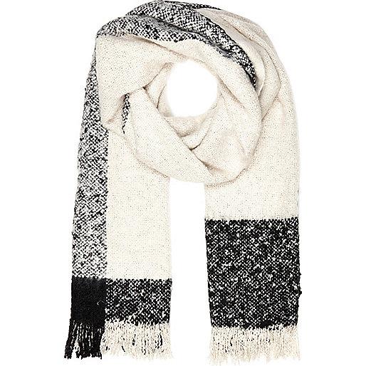 Cream blurred stripe super soft scarf