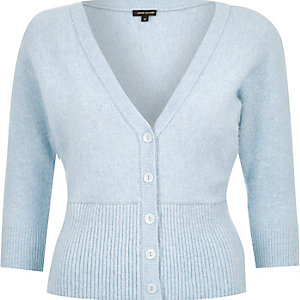 Light blue wool-blend fluffy cardigan