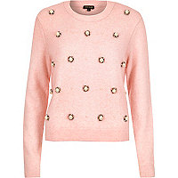 Pink bead embellished jumper