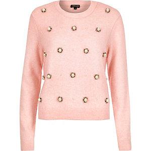 Pink bead embellished jumper